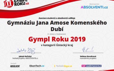 Druhé místo v soutěži GymplRoku 2019